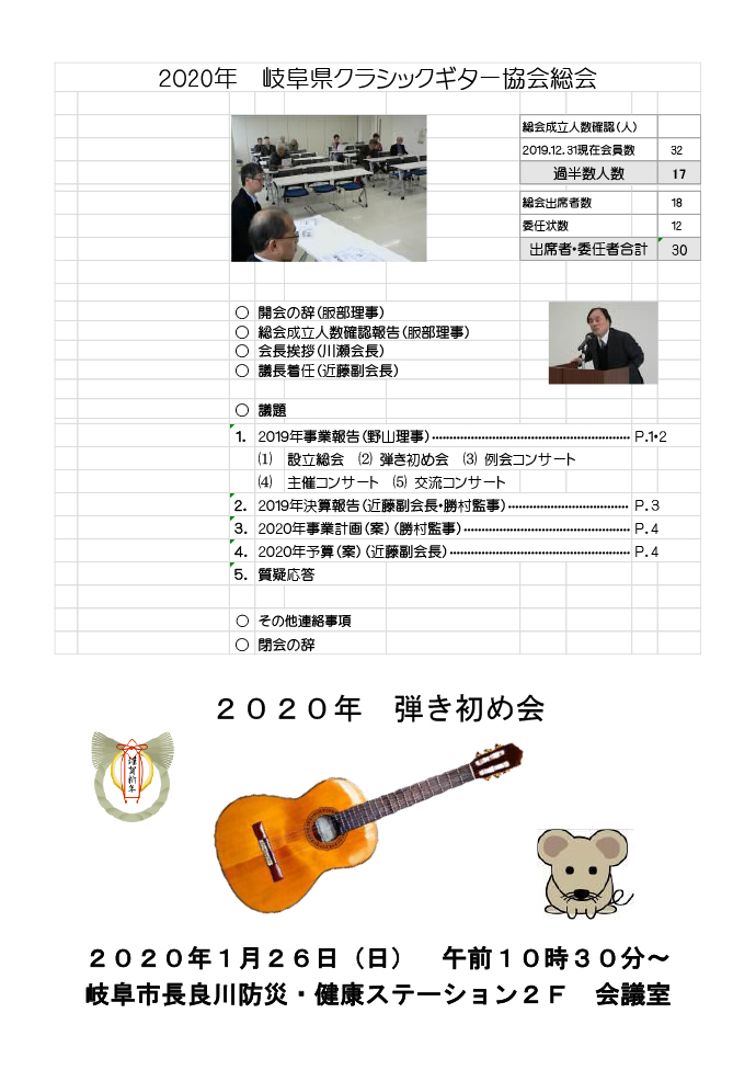 岐阜クラシックギター協会 弾き初め会 総会1